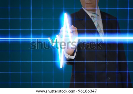Business Draw Heart pulse - stock photo