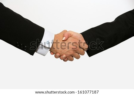 Business dressed male and female shaking hands. - stock photo