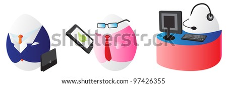Business easter eggs icons - stock photo