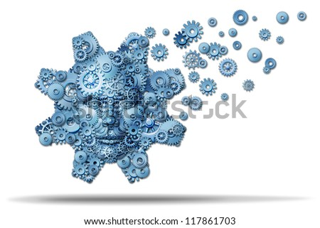 Business education and corporate training as gears and cogs shaped as a giant gear with a human face symbol spreading knowledge and teaching financial skills for career growth on a white background. - stock photo