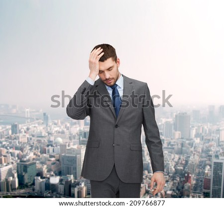 business, education and office concept - handsome businessman having headache over forex chart background over cityscape background - stock photo