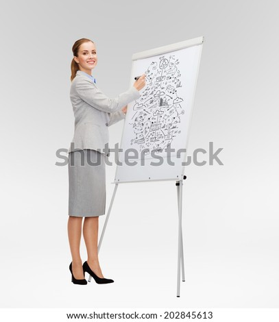 business, education and office concept - smiling businesswoman drawing big plan on flip board - stock photo