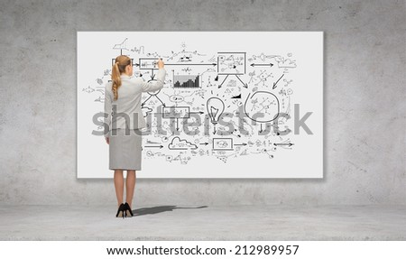 business, education and office people concept - businesswoman or teacher with marker writing or drawing scheme from back over concrete wall background - stock photo