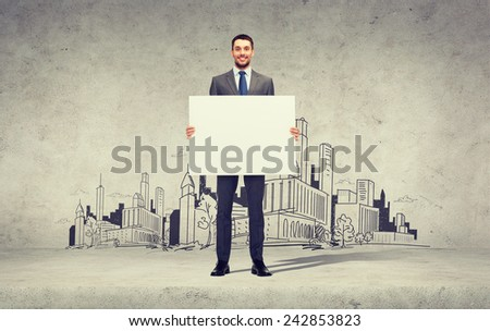 business, education, office and advertising concept - smiling businessman with big white blank board - stock photo