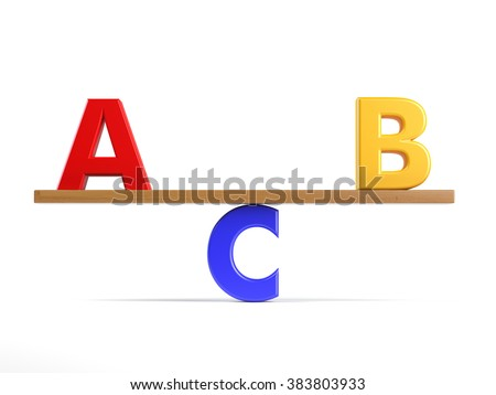 Business, education or sports competition concept with letters a, b and c on a teeterboard isolated on white. - stock photo