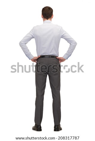 business, education, people and office concept - businessman or teacher from back - stock photo