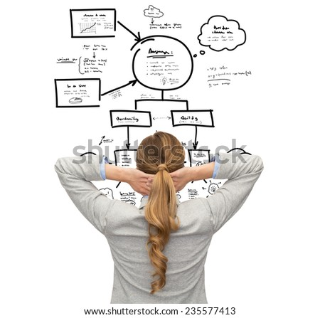 business, education, people and office concept - businesswoman or teacher in suit pointing finger up from back - stock photo
