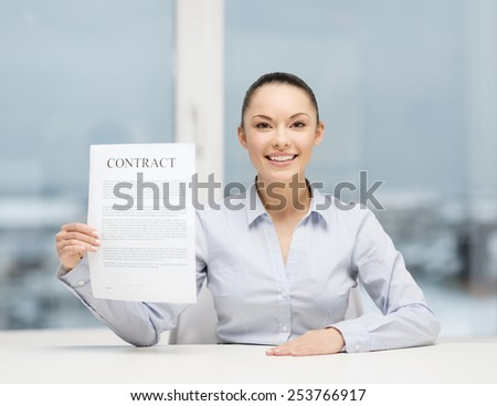business, education, school, documents, people, legal and real estate concept - happy businesswoman holding contract in office - stock photo