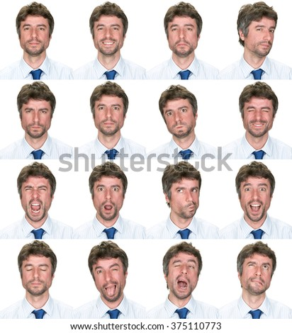business elegant short hair beard caucasian man collection set of face expression like happy, sad, angry, surprise, yawn isolated on white - stock photo