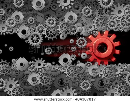 Business energy power of innovation technology displacing old industry as a business game changer as a 3D illustration red gear destroying and disrupting displacing established industry. - stock photo