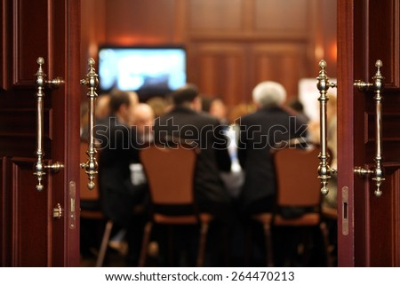 Business event background. Shallow depth of field - stock photo