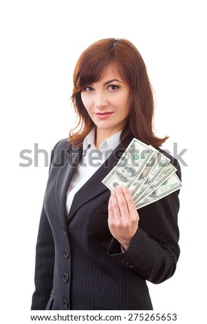 Business executive in formal suit giving money - stock photo