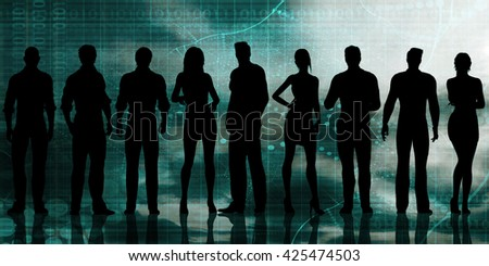 Business Executives Standing Against the Background as Art 3D Illustration Render - stock photo