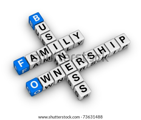 business family ownership crossword - stock photo