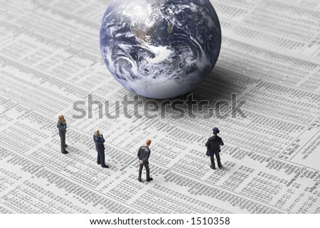 Business figures, earth and stock report - stock photo