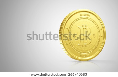 Business, Finance and Internet Online Payment System Concept. Golden Bitcoin Cryptocurrency on gradient reflective background with place for Your text - stock photo