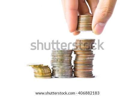 Business Finance and Money concept, Man Hand put coin to money, Business idea - stock photo