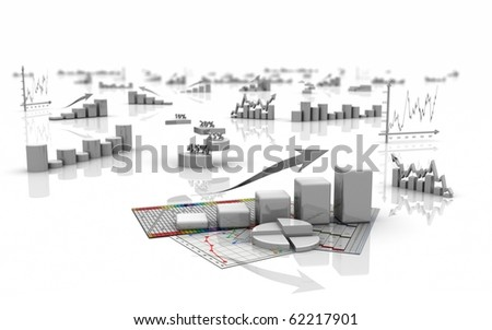 business finance charts, bar, graphics, diagram 3d - stock photo