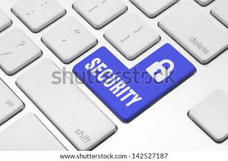 Business finance concept: Security key on the computer keyboard - stock photo
