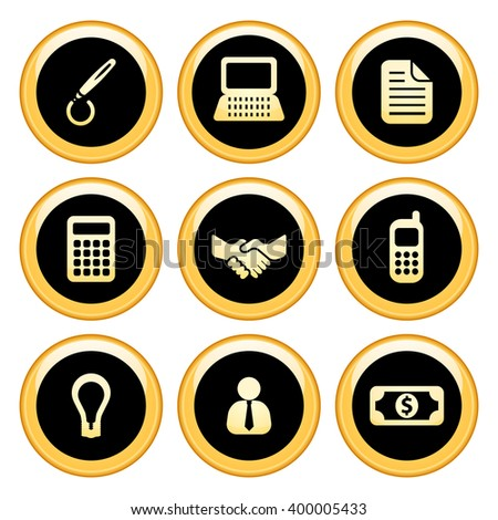Business & Finance Icons Gold Icon Set. Raster Version - stock photo