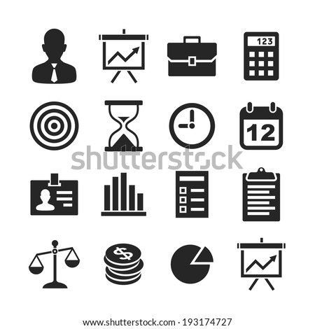 Business & finance icons. Raster version - stock photo