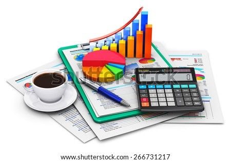 Business finance, tax, accounting, banking, statistics and money concept: office calculator, bar graph and pie diagram, cup of coffee and pen on financial reports in clipboard isolated on white - stock photo