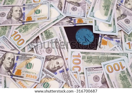 business, finance, technology and e-commerce concept - time of smartphone and dollars money - stock photo