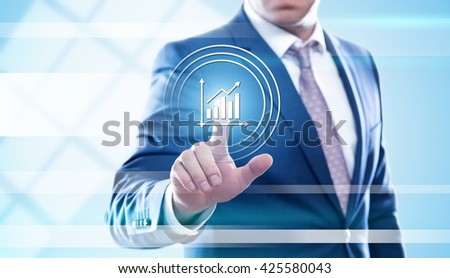 business, finance, technology and internet concept - businessman pressing graph button on virtual screens. Template for text. - stock photo