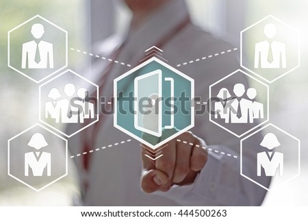 Business, finance, technology and internet concept - businesswoman presses a opened door button on virtual screens. Businessman opening the door to success. The door to the business. - stock photo