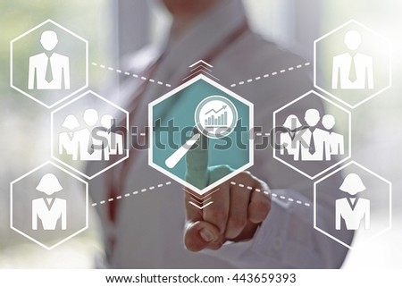 Business, finance, technology and internet concept - businesswoman presses button a magnifying glass with a graph sign on virtual screens. Loupe with a chart on the touch screen. Search in business. - stock photo