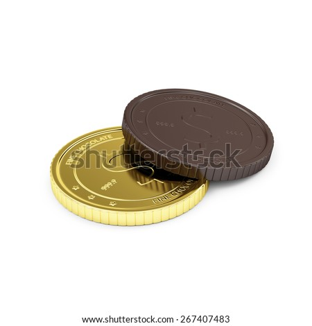 Business, Financial and Sweet Candy Food Concept. Golden Coin with Chocolate Coin Isolated on white background - stock photo