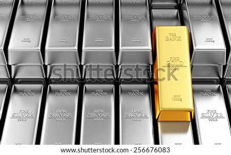 Business, Financial, Bank Gold Reserves Concept. Stack of Silver and Golden Bars in the Bank Vault - stock photo
