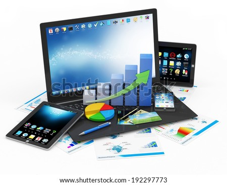 Business Financial Concept. Laptop with Business Graph, Pie Chart, Touchscreen Smartphone, Tablet PC and Financial Reports isolated on white background - stock photo