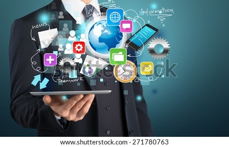 Business. Financial report  & statistics. Future technology business. Holographic bar graph on tablet pc. Touch pad interface collection. - stock photo