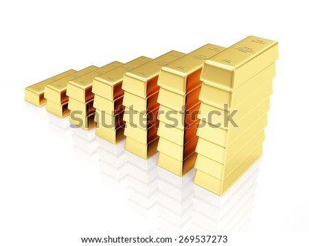 Business, Financial, Success or Wealth and Riches Concept. Business Graph made from Golden Bars isolated on white reflective background - stock photo
