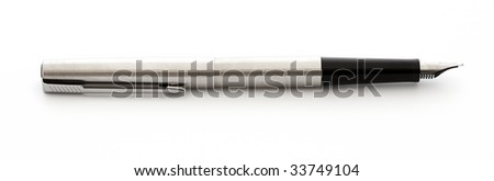 business fountain pen isolated on white background - stock photo