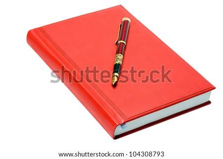 Business fountain pen on red organizer isolated on white background - stock photo