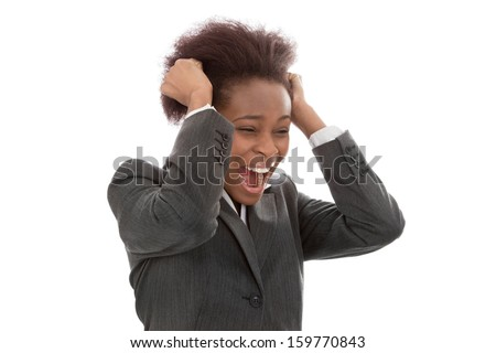 Business: frustrated black woman pulling out hair screaming isolated on white background - stock photo