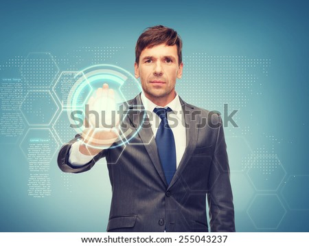 business, future technology and office concept - attractive buisnessman working with virtual screen - stock photo