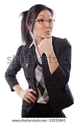 business girl has put a hand on a belt - stock photo