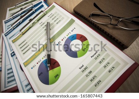 Business graph analysis report. Accounting - stock photo
