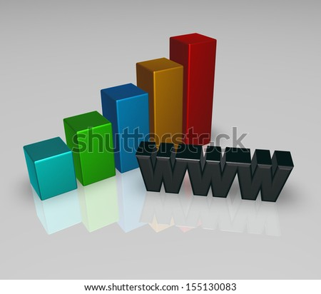 business graph and the letters www - 3d illustration - stock photo