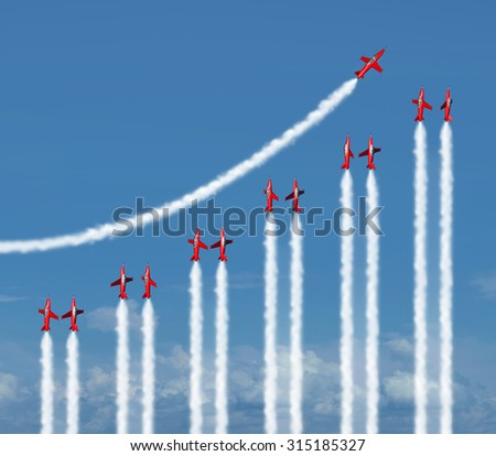 Business graph chart diagram concept as a group of acrobatic jet airplanes flying with smoke trails shaped as a financial infograph icon for rising wealth and success. - stock photo