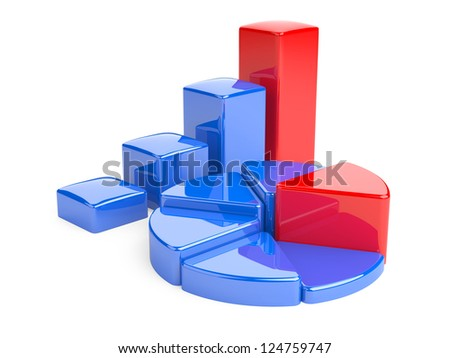 Business Graph. 3D illustration, analysis and development of business. - stock photo