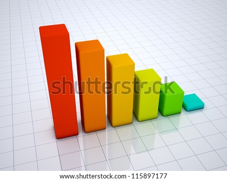 Business graph 3D Render on ground grid - stock photo