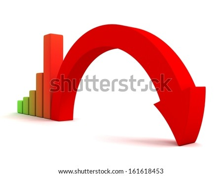business graph decline arrow down crisis concept - stock photo
