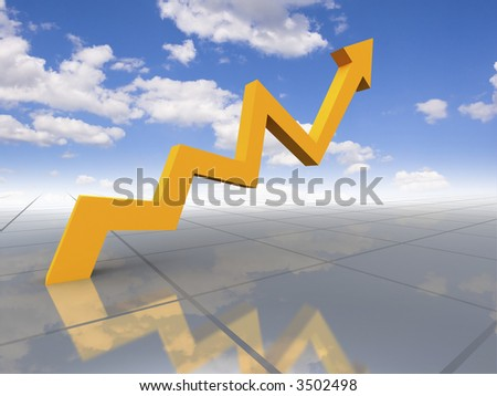 Business graph - growth to sky - stock photo