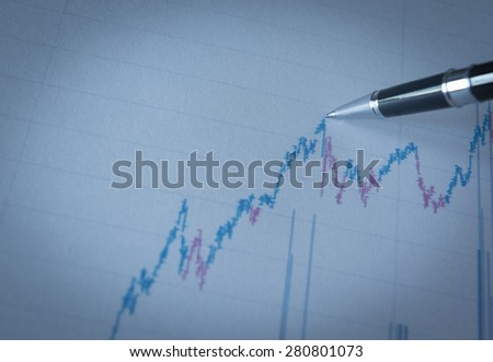 business graph in up trend. blue tone.business concept. - stock photo