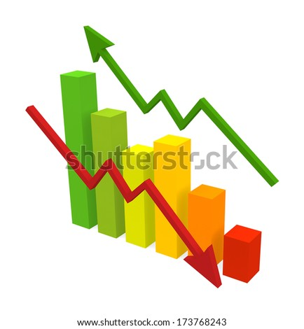 Business Graph isolated on white - stock photo