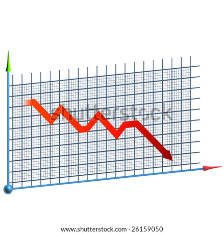 Business graph moving down (3d rendering) - stock photo